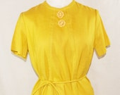 RESERVED vintage DRESS Yellow womens sack dress with tie sheath dress mustard mod