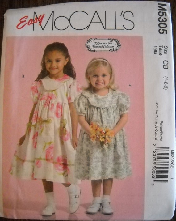 Infant Toddler Dress Pattern McCalls 5305 Ruffles and Lace Treasured Collection -- sizes 1, 2, 3 - NEW