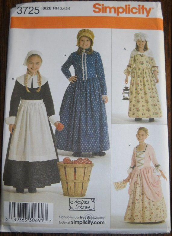 Pilgrim and Colonial Costume Pattern for Girls, Simplicity 3725, Sizes 3-6