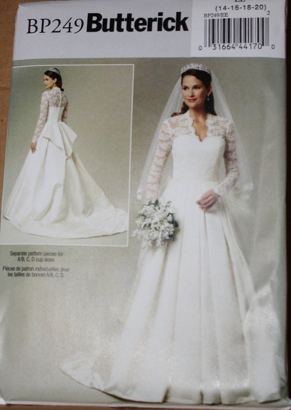 Kate middleton wedding gown pattern bp249 or 5731 sizes for Princess catherine wedding dress