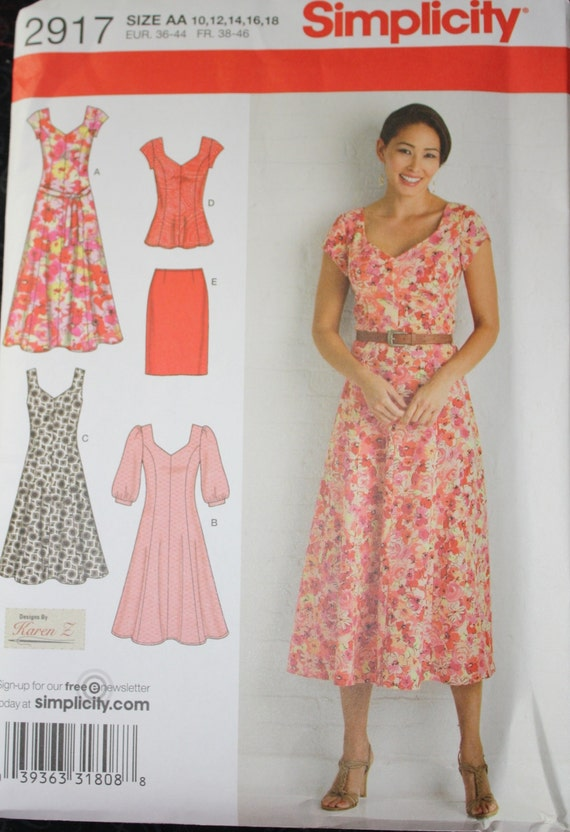 Simplicity 2917 Ladies Princess Seam Dress or Tunic and Skirt Pattern Sizes 10-18