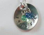 Personalized Mother's Necklace - Hand Stamped Necklace - Sterling Silver with Swarovski birthstone - Two Children - Free Shipping