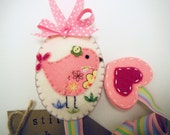 Felt Hair clip holder- bird applique by Miki