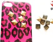 DIY STUDDED pink leopard iPhone case, comes with 35 hot fix flat back studs, ships from america next day