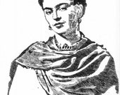 Frida Kahlo done with the date of her birthday July 6, 1907  size 12 x 18 print