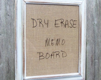 RESERVED Framed Dry Erase Board Message Burlap Distressed White Wood