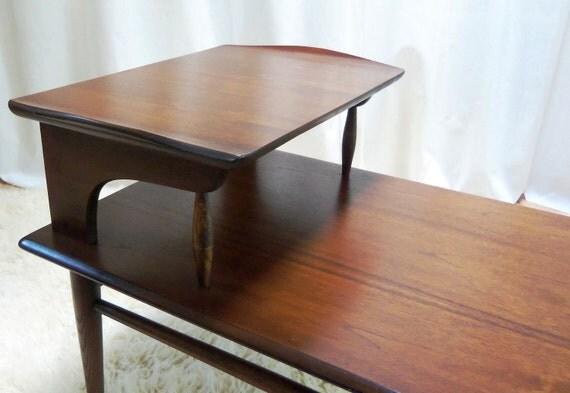 RESERVED Mid Century Walnut Step Table Tiered Vintage Bassett Treasury Item