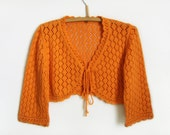 Lace Knitted Bolero Jacket - Orange, Size M
