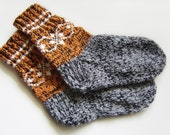 Hand Knitted Wool Socks - Black, Gray and Brown