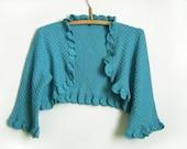 Knitted Bolero Jacket - Turquoise Blue, Size S, M