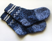 Hand Knitted Wool Socks - Blue, Gray and Black