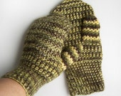 Hand Knitted Mittens - Green, Brown and Yellow