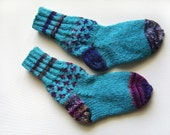 Hand Knitted Wool Socks for Children - Turquoise blue