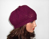 Hand Knitted Hat, Slouchy Hat Slouchy Beanie Hand Knit Slouchy Beret  - Violet with Pink Flower