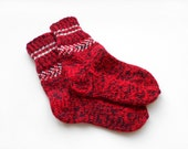 RESERVED Hand Knitted Wool Socks - Red and Black, Size Medium