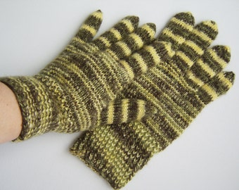 Hand Knitted Gloves - Yellow and Green