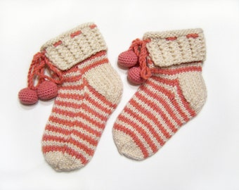 Hand Knitted Slipper Socks, Bed Socks, Night Socks, Wool Mohair Socks - Natural White and Pink