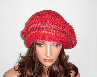 Hand Knitted Hat - Red