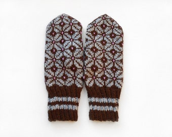 Hand Knitted Mittens - Brown and Gray, Size Large