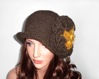 Crochet Cloche Hat with Large Flower - Brown
