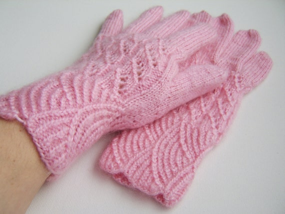 Hand Knitted Gloves - Pink Mohair
