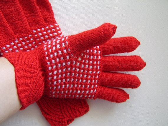 Hand Knitted Gloves - Red and White
