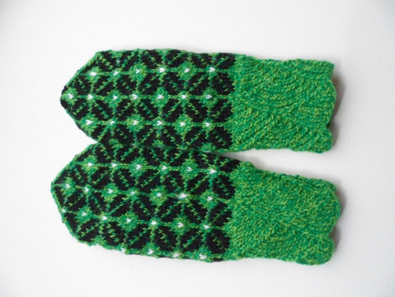 Hand Knitted Mittens - Green, Size Small
