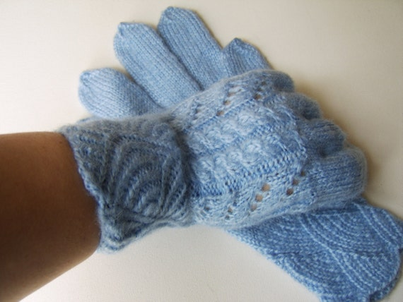 Hand Knitted Gloves - Light Blue, Size Large