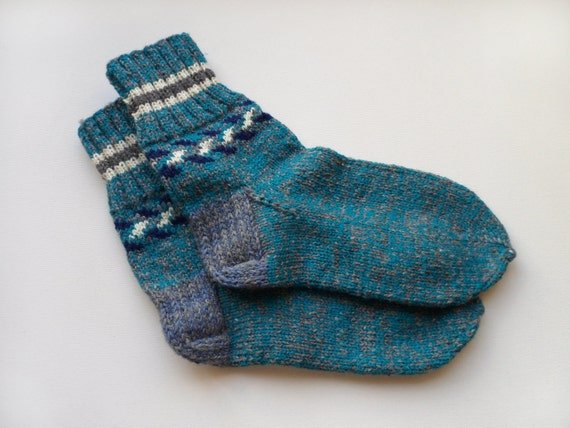 Hand Knitted Wool Socks - Gray and Electric Blue, Size Medium
