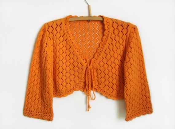 Lace Knitted Bolero Jacket - Orange, Size M