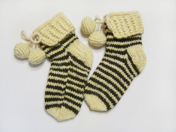 Hand Knitted Slipper Socks, Bed Socks, Night Socks, Wool Mohair Socks - Cream Color and Green