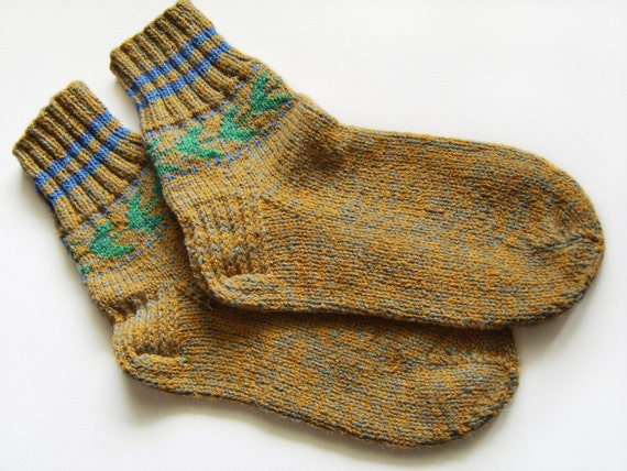 Hand Knitted Wool Socks - Mustard Brown and Gray