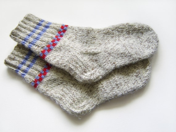 Hand Knitted Wool Socks - Grey and Blue, Small