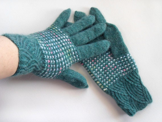 Hand Knitted Gloves - Teal Blue
