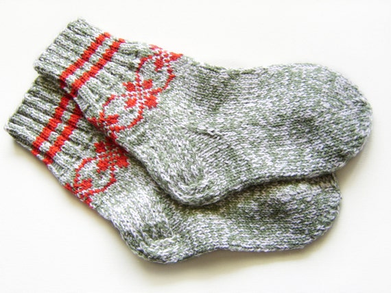 RESERVED Hand Knitted Wool Socks - Gray, Green and White