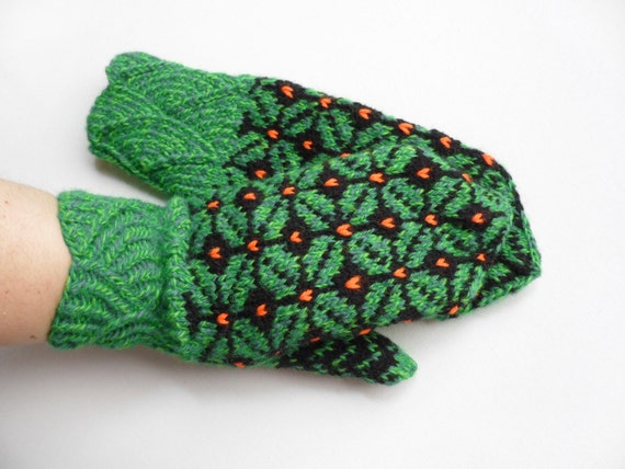 Hand Knitted Mittens - Green and Black