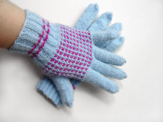 Hand Knitted Gloves - Light Blue, Size Small