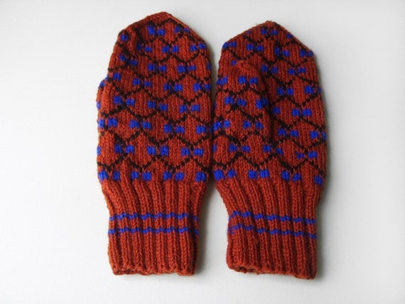 Hand Knitted Mittens - Red, Size Large