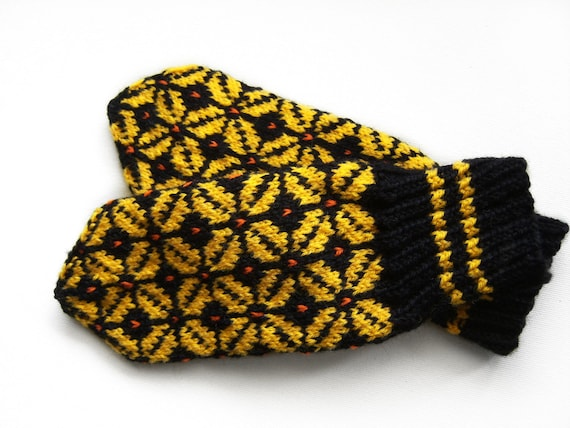 Hand Knitted Mittens - Black and Yellow