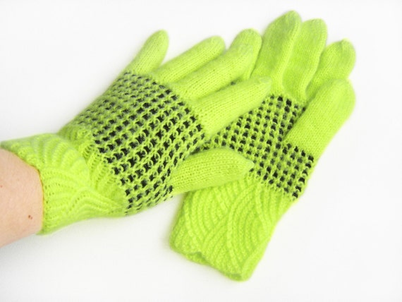 Hand Knitted Gloves - Neon Yellow and Black