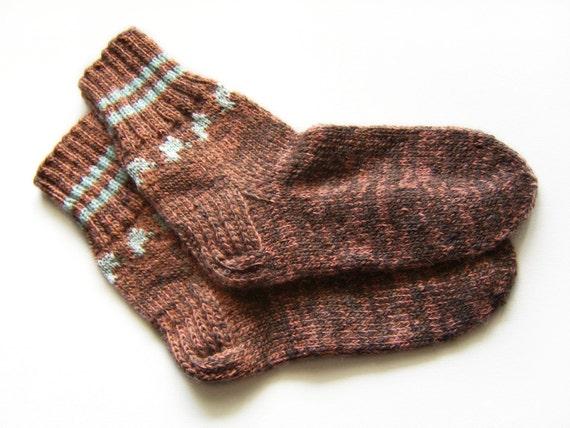 Hand Knitted Wool Socks - Brown and Pastel Orange, Size Medium