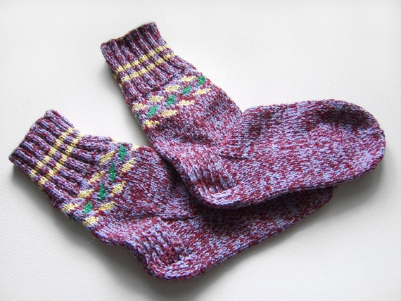 Hand Knitted Wool Socks - Lilac and Bordo, Extra Large