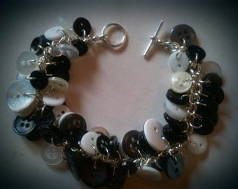 Deluxe Button Charm Bracelet - Black / White / Grey / Multicoloured