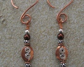 Copper Earrings with Silver Accents