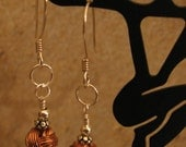 Silver Pierced Earrings with Copper Openwork Bead