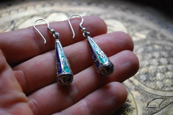 Antique SILVER MOROCCAN EARRINGS - Teardrop Dangle Earrings