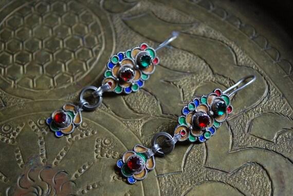 Antique SILVER MOROCCAN EARRINGS - Long Dangle Earrings