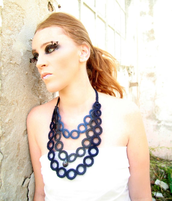Ombrè blue bib necklace kid-mohair  whit ceramic raku beads
