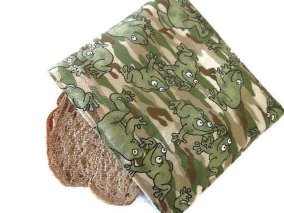 Reusable  Sandwich Bag,  snack baggie, camouflage, frogs