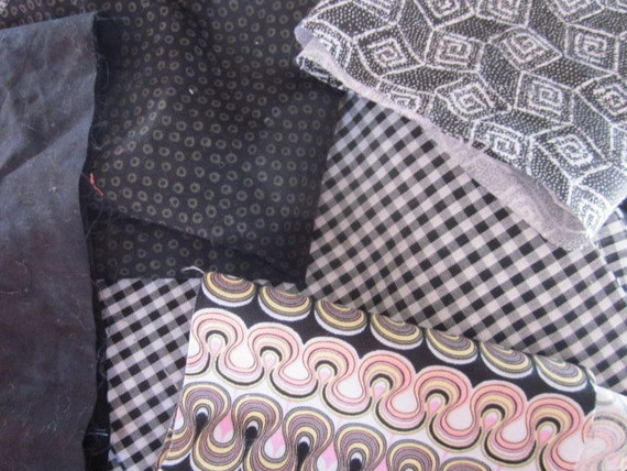 Fabric Scrap Bag / Fabric Sale / Fabric Destash / Clearance Fabric / Black themed fabrics